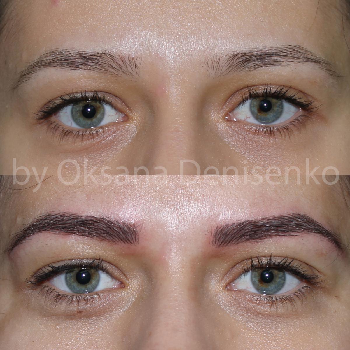 Перманентный макияж бровей волосковый фото до и